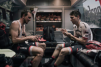 John Degenkolb (DEU/Trek-Segafredo) & Michael Gogl (AUT/Trek-Segafredo) prepping in the back of the teambus<br /> <br /> 104th Tour de France 2017<br /> Stage 8 - Dole › Station des Rousses (187km)