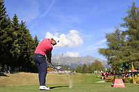 Lucas Bjerregaard (DEN) tees off the 18th tee during Saturday's Round 3 of the 2018 Omega European Masters, held at the Golf Club Crans-Sur-Sierre, Crans Montana, Switzerland. 8th September 2018.<br /> Picture: Eoin Clarke | Golffile<br /> <br /> <br /> All photos usage must carry mandatory copyright credit (&copy; Golffile | Eoin Clarke)