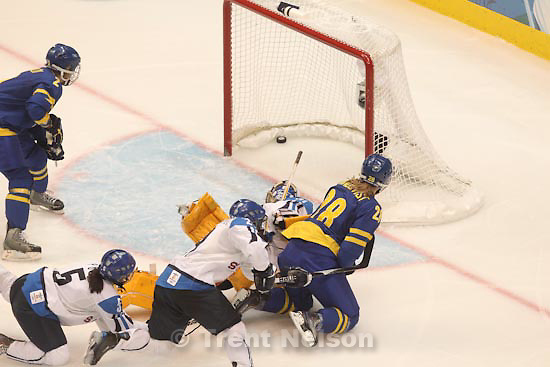 Trent Nelson  |  The Salt Lake Tribune.Finland defeats Sweden 3-2 for the bronze medal, women's Ice Hockey at the Canada Hockey Place, Vancouver, XXI Olympic Winter Games, Thursday, February 25, 2010. Sweden's Danijela Rundqvist