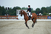 Viktoria Carlerback (SWE) riding Moustic de Canta during the dressage test at Malmo City Horse Show FEI World Cup Eventing Qualifier CIC***. <br /> The couple was with 59,01 % placed 32th after Friday's dressage.<br /> Eventing in Ribersborg, Malmo, Sweden.<br /> August 2011.<br /> Only for editorial use.