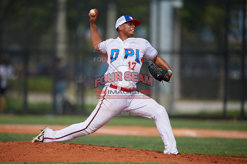 Ronald Camilo (17) during the Dominican Prospect League Elite Florida Event at Pompano Beach Baseball Park on October 15, 2019 in Pompano beach, Florida.  (Mike Janes/Four Seam Images)