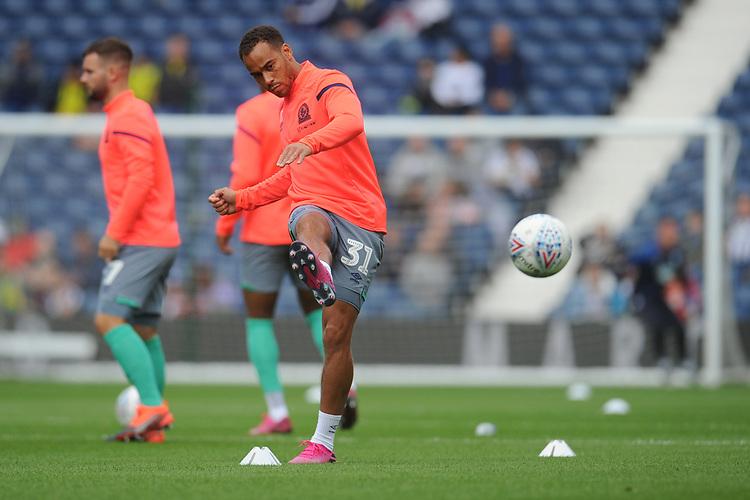 Blackburn Rovers' Elliott Bennett during the pre-match warm-up \<br /> <br /> Photographer Kevin Barnes/CameraSport<br /> <br /> The EFL Sky Bet Championship - West Bromwich Albion v Blackburn Rovers - Saturday 31st August 2019 - The Hawthorns - West Bromwich<br /> <br /> World Copyright © 2019 CameraSport. All rights reserved. 43 Linden Ave. Countesthorpe. Leicester. England. LE8 5PG - Tel: +44 (0) 116 277 4147 - admin@camerasport.com - www.camerasport.com