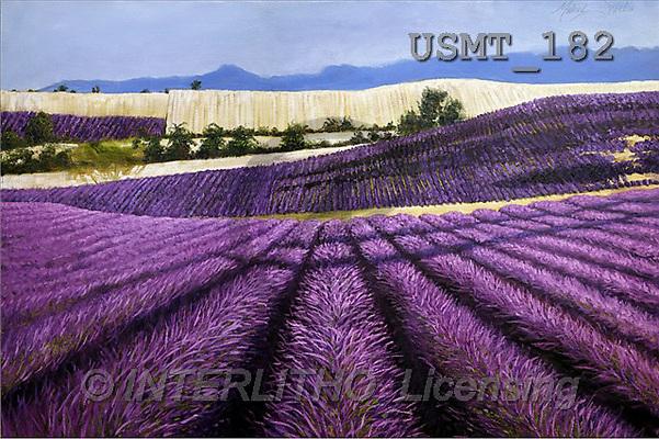 Malenda, LANDSCAPES, paintings, Tuscan Lavender(USMT182,#L#) Landschaften, Schiffe, paisajes, barcos, llustrations, pinturas