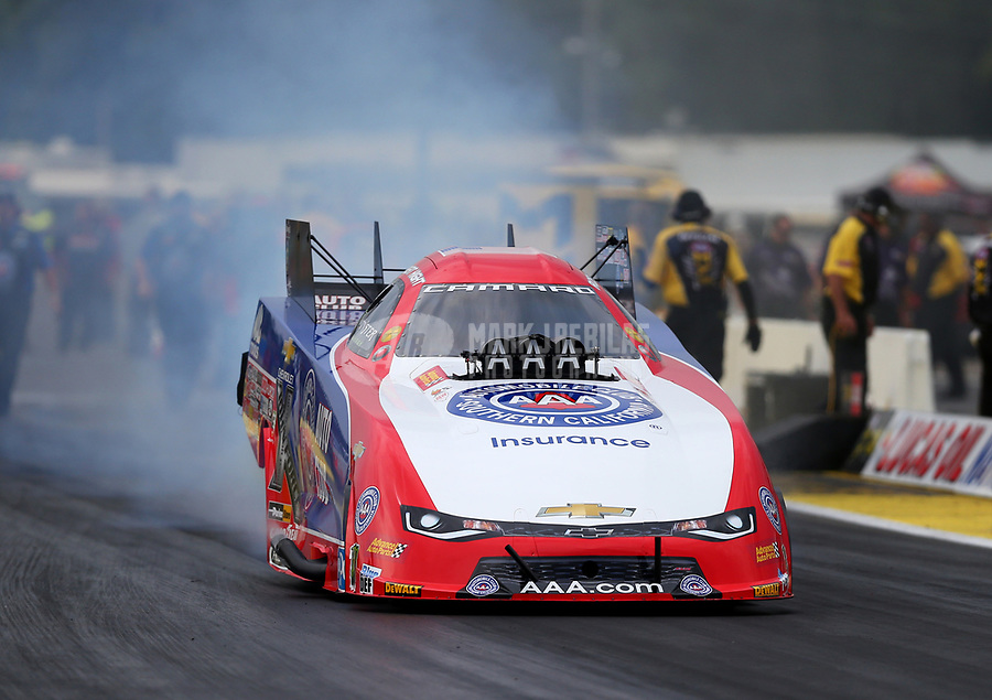 Aug 18, 2017; Brainerd, MN, USA; NHRA funny car driver Robert Hight during qualifying for the Lucas Oil Nationals at Brainerd International Raceway. Mandatory Credit: Mark J. Rebilas-USA TODAY Sports