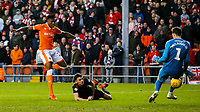 Blackpool's Armand Gnanduillet shoots past Sunderland's Jon McLaughlin<br /> <br /> Photographer Alex Dodd/CameraSport<br /> <br /> The EFL Sky Bet League One - Blackpool v Sunderland - Tuesday 1st January 2019 - Bloomfield Road - Blackpool<br /> <br /> World Copyright © 2019 CameraSport. All rights reserved. 43 Linden Ave. Countesthorpe. Leicester. England. LE8 5PG - Tel: +44 (0) 116 277 4147 - admin@camerasport.com - www.camerasport.com