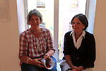 Margaret Neugent and Kate sweetman<br /> Hugh McElveen giving a talk on philospohy of Albert Kahn<br /> Picture:  Fran Caffrey / www.newsfile.ie