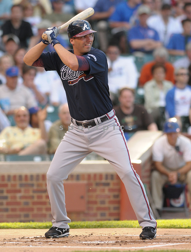 JEFF FRANCOUER, of the Atlanta Braves, in action against the Chicago Cubs during the Braves  game on June 10, 2008 in Chicago, IL. The Cubs won the game 10-5.