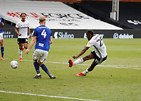4th July 2020; Craven Cottage, London, England; English Championship Football, Fulham versus Birmingham City; Joshua Onomah of Fulham taking a shot past Marc Roberts of Birmingham City to score his sides 1st goal in the 96th minute to make it 1-0