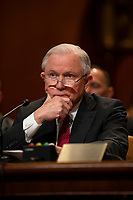 Attorney General Jeff Sessions testifies during a Senate Appropriations sub committee hearing to examine the Department of Justice budget at the United States Capitol in Washington, DC on April 25, 2018. Credit: Alex Edelman / CNP /MediaPunch