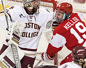 Joe Woll (BC - 31), Clayton Keller (BU - 19) - The visiting Boston University Terriers defeated the Boston College Eagles 3-0 on Monday, January 16, 2017, at Kelley Rink in Conte Forum in Chestnut Hill, Massachusetts.
