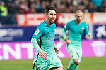 FC Barcelona's forward Leo Messi celebrates after scoring a goal  during the match of Copa del Rey between Atletico de  Madrid and Futbol Club Barcelona at Vicente Calderon Stadium in Madrid, Spain. February 1st 2017. (ALTERPHOTOS/Rodrigo Jimenez)