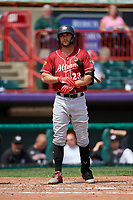 Altoona Curve Logan Hill (23) at bat during an Eastern League game against the Erie SeaWolves and on June 4, 2019 at UPMC Park in Erie, Pennsylvania.  Altoona defeated Erie 3-0.  (Mike Janes/Four Seam Images)