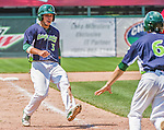 8 July 2014: Vermont Lake Monsters infielder Joe Bennie comes home to score the game winning run against the Lowell Spinners at Centennial Field in Burlington, Vermont. The Lake Monsters rallied with two runs in the 9th to defeat the Spinners 5-4 in NY Penn League action. Mandatory Credit: Ed Wolfstein Photo *** RAW Image File Available ****