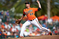 Baltimore Orioles relief pitcher Chris Jones (69) delivers a pitch during a Spring Training game against the Minnesota Twins on March 7, 2016 at Ed Smith Stadium in Sarasota, Florida.  Minnesota defeated Baltimore 3-0.  (Mike Janes/Four Seam Images)