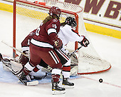 Marissa Gedman (Harvard - 16), Katie MacSorley (NU - 3) - The Harvard University Crimson defeated the Northeastern University Huskies 4-3 (SO) in the opening round of the Beanpot on Tuesday, February 8, 2011, at Conte Forum in Chestnut Hill, Massachusetts.