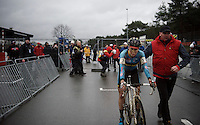 Sanne Cant (BEL) is escorted back to the podium after her 3rd place finish. Sanne came for noting less then gold and was pretty disappointed with 'just' bronze.<br /> <br /> Elite Women's race<br /> UCI 2016 cyclocross World Championships