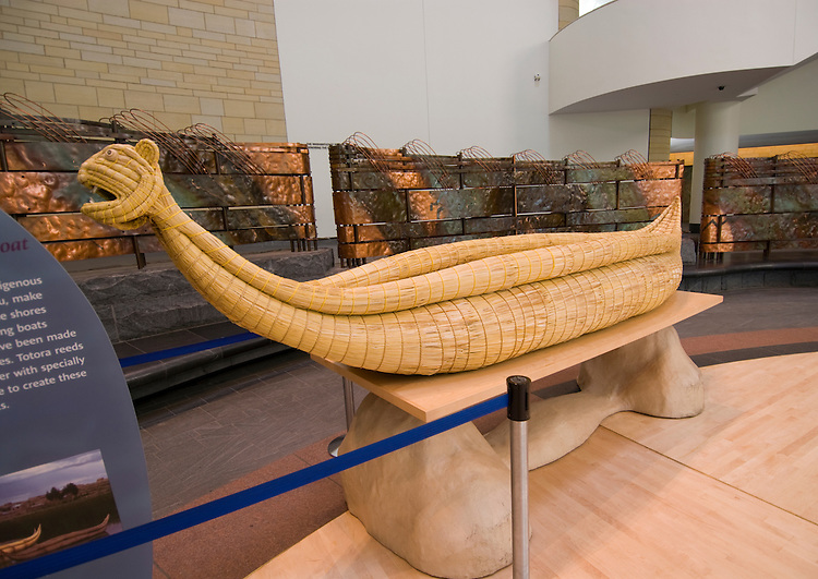 Washington DC; USA:  National Museum of the American Indian, inspiring new architecture on the Mall. Reed canoe on display in lobby..Photo copyright Lee Foster Photo # 12-washdc83295