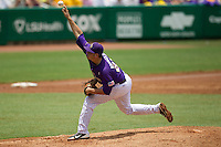 LSU Tigers pitcher Joe Broussard #21 delivers a pitch during the NCAA Super Regional baseball game against Stony Brook on June 9, 2012 at Alex Box Stadium in Baton Rouge, Louisiana. Stony Brook defeated LSU 3-1. (Andrew Woolley/Four Seam Images)