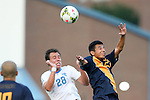 29 August 2014: North Carolina's Alex Olofson (28) and Cal's Jose Carrera-Garcia (CAN) (23). The University of North Carolina Tar Heels hosted the University of California Bears at Fetzer Field in Chapel Hill, NC in a 2014 NCAA Division I Men's Soccer match. North Carolina won the game 3-1.