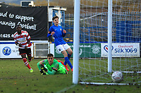 Dan Hector of Kingstonian scores the opener during Macclesfield Town vs Kingstonian, Emirates FA Cup Football at the Moss Rose Stadium on 10th November 2019