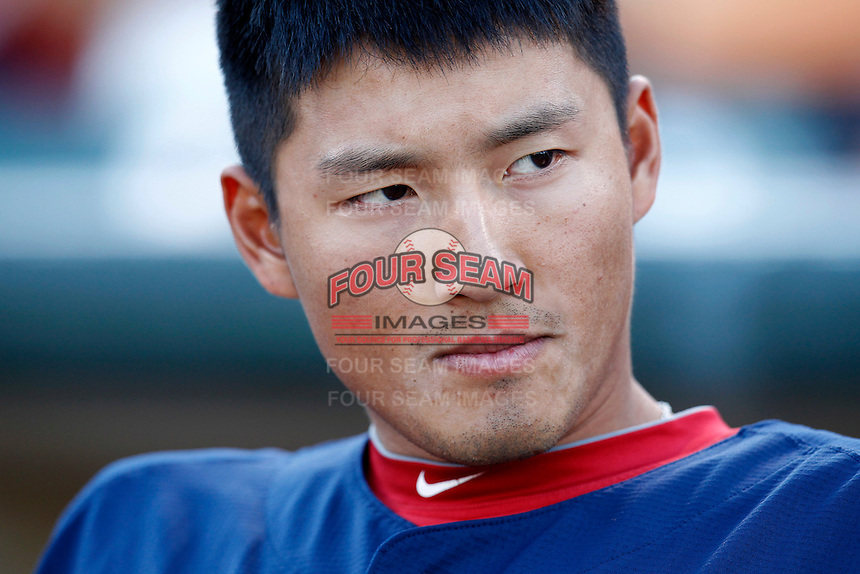 Pawtucket Red Sox outfielder Che-Hsuan Lin #35 before a game against the Rochester Red Wings at Frontier Field on August 30, 2011 in Rochester, New York.  Rochester defeated Pawtucket 8-6.  (Mike Janes/Four Seam Images)