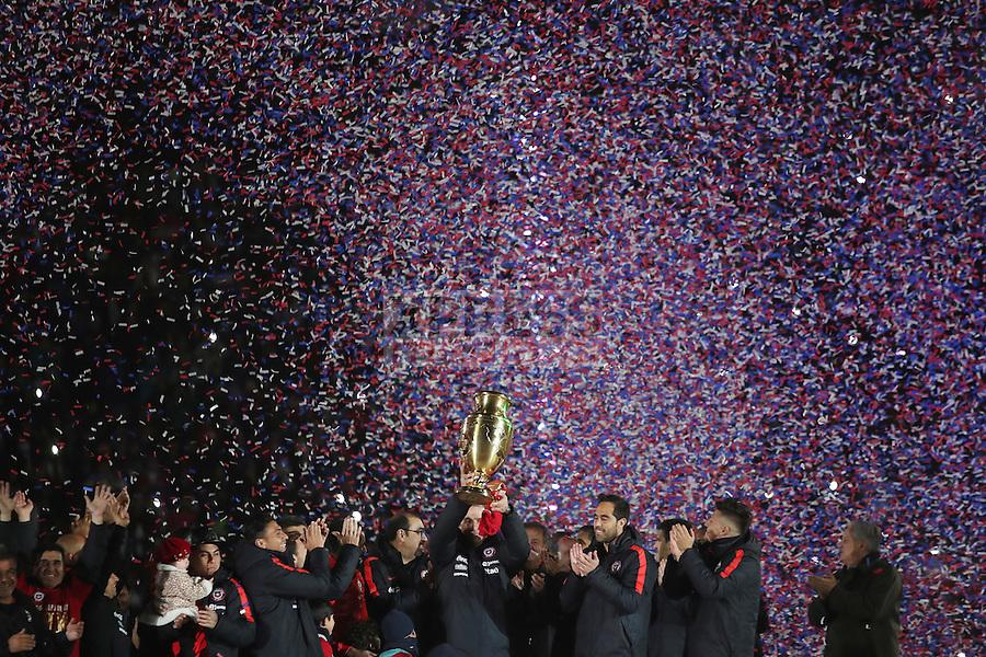 3 Julio 2016, Santiago-Chile. La selección chilena de fútbol se le hace un reconocimiento por la obtención del título de la Copa Centenario que se realizó en el Estadio Nacional. ©Ernesto Zelada - Xpress Media