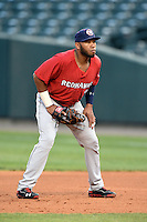Oklahoma City RedHawks first baseman Jon Singleton (24) during a game against the Memphis Redbirds on May 23, 2014 at AutoZone Park in Memphis, Tennessee.  Oklahoma City defeated Memphis 12-10.  (Mike Janes/Four Seam Images)