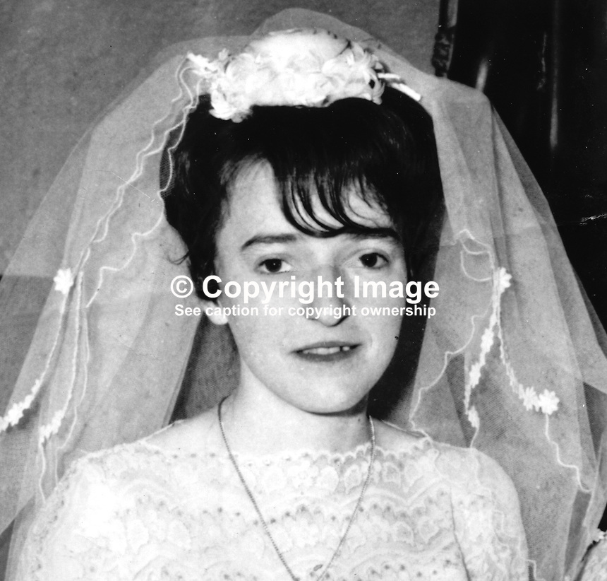Mrs Bernadette Hyndman, 24 years, Roman Catholic, West Belfast, N Ireland,  who died when hit by a stray bullet in an Official IRA attack on soldiers in the area. 197203120240a.<br />