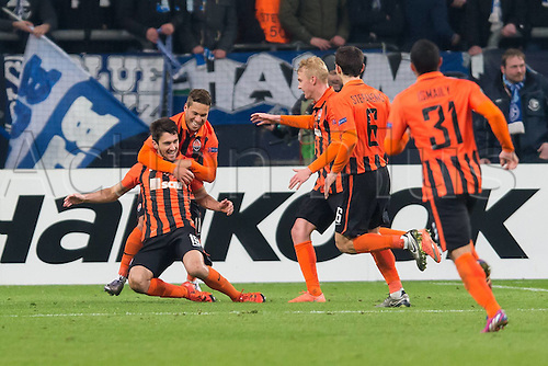 25.02.2016. Gelsenkirchen, Germany. Europa League Round of 32 Second Leg soccer match between Schalke 04 and FC Shakhtar Donetsk in the Veltins Arena in Gelsenkirchen, Germany.  Players of Shakhtar Donetsk, celebrate the goal from Facundo Ferreyra (Donetsk)  for 0-2