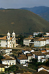 Ouro Preto, Brazil. View of colonial buildings. UNESCO World Heritage site. Minas Gerais State.