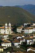 Ouro Preto, Brazil. View of colonial buildings. UNESCO World Heritage site. Minas Gerais State.