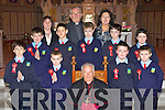 Curranes NS pupils with their Principal Cait Daly and Monsignor Dan O'Riordan after they were confirmed in St Stephen and John's church Castleisland on Thursday by Bishop Bill Murphy (school has a no name policy)