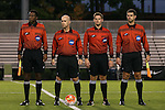 05 October 2015: Match Officials. From left: Assistant Referee Justin Kohrs, Referee Mike Stutt, Fourth Official Michael M. Gregory, and Assistant Referee Kevin Uitto. The Duke University Blue Devils hosted the Hofstra University Pride at Koskinen Stadium in Durham, NC in a 2015 NCAA Division I Men's Soccer match. Duke won the game 3-2 in overtime.