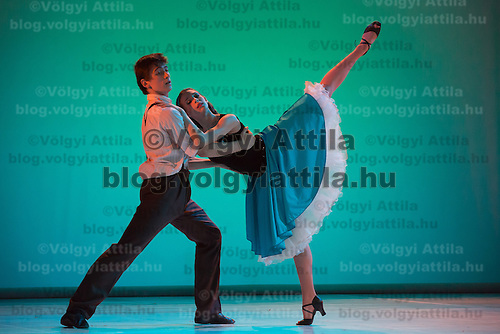 Solists Virag Hoffmann and Adam Dzsupin and the students of the seventh year perform West Side Story choreographed by Monika Barna, music by Leonard Bernstein during a gala performance held at the National Dance Theatre in Budapest, Hungary on February 27, 2013. ATTILA VOLGYI