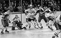 Seals vs Montreal Canadiens, goalie Phil Myre, John Ferguson, Serge Savard, Seals Carol Vadnais, Ted Hampson..(1970 photo/Ron Riesterer)