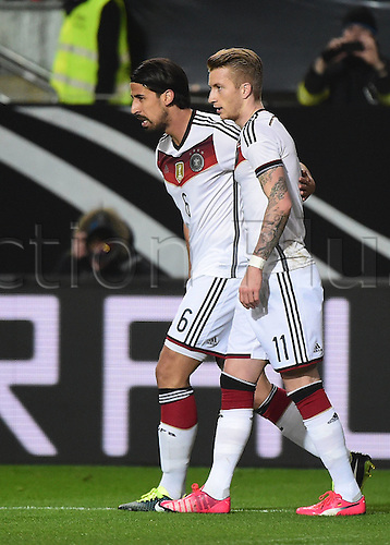 25.03.2015. Kaiserslautern, Germany. International football friendly between Germany and Australia.   Sami Khedira and Marco Reus (Germany)  Goal celebration for 1-0<br />