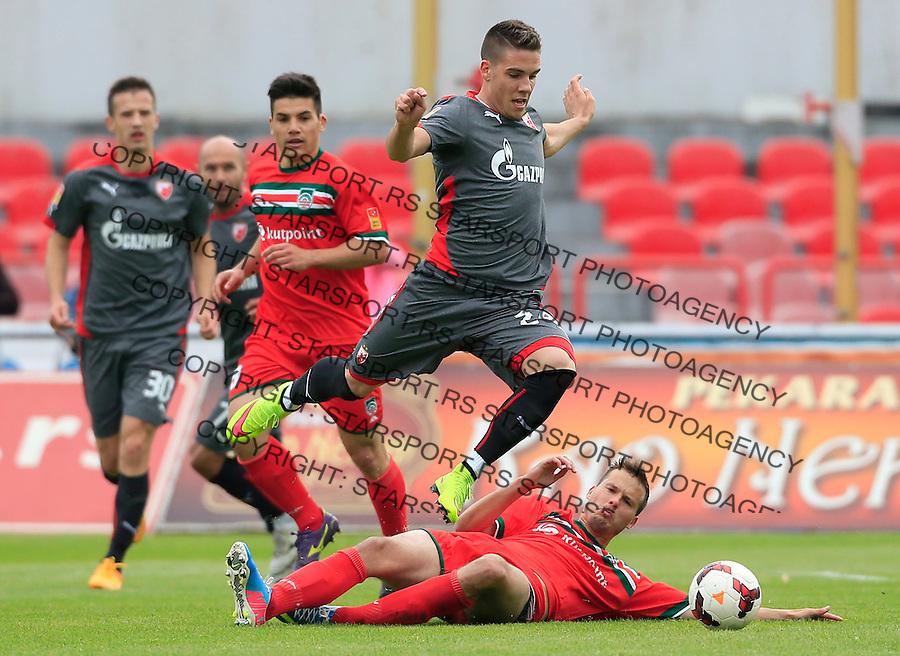 Fudbal Jelen Super League season 2014-2015 <br /> Donji Srem v Crvena Zvezda<br /> Mihailo Ristic (TOP) and Igor Jelic<br /> Novi Sad, 29.04.2015.<br /> foto: Srdjan Stevanovic/Starsportphoto&copy;