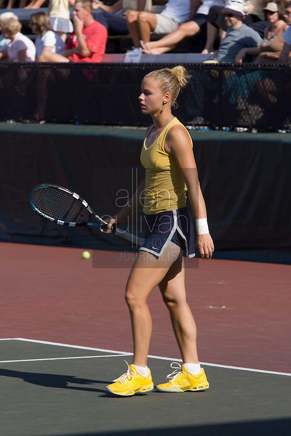 Georgia Tech tennis player Kristi Miller during doubles and singles play against California in the NCAA Women's Tennis Championships in Athens, Georgia on Sunday, May 20, 2007.