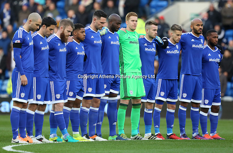 Cardiff City observe a minute silence prior to kick off of the Sky Bet Championship match between Cardiff City and Brighton and Hove Albion at The Cardiff City Stadium, Wales, UK. Saturday 04 December 2016