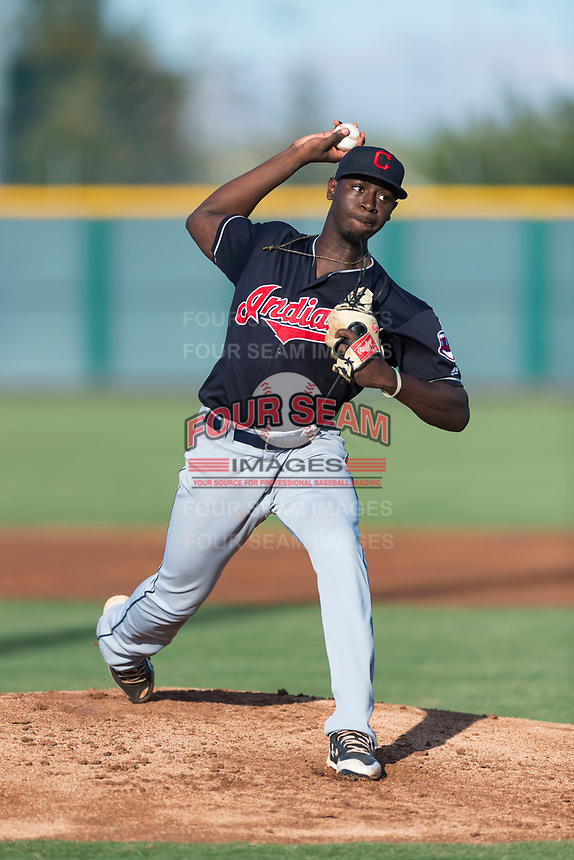 AZL Indians 1 starting pitcher Tahnaj Thomas (40) delivers a pitch during an Arizona League game against the AZL Cubs 1 at Sloan Park on August 27, 2018 in Mesa, Arizona. The AZL Cubs 1 defeated the AZL Indians 1 by a score of 3-2. (Zachary Lucy/Four Seam Images)