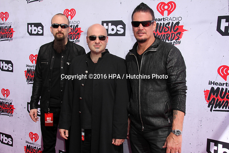 LOS ANGELES - APR 3:  Disturbed at the iHeart Radio Music Awards 2016 Arrivals at the The Forum on April 3, 2016 in Inglewood, CA