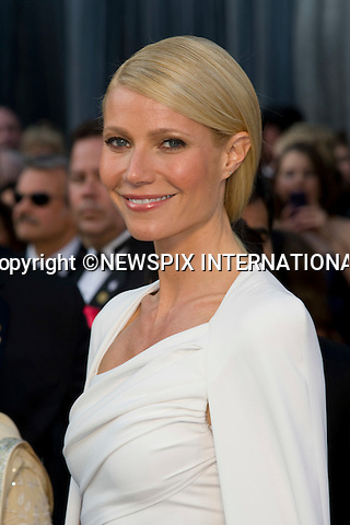 "OSCARS 2012 - GWYNETH PALTROW.84th Academy Awards arrivals, Kodak Theatre, Hollywood, Los Angeles_26/02/2012.Mandatory Photo Credit: ©Dias/Newspix International..**ALL FEES PAYABLE TO: ""NEWSPIX INTERNATIONAL""**..PHOTO CREDIT MANDATORY!!: NEWSPIX INTERNATIONAL(Failure to credit will incur a surcharge of 100% of reproduction fees)..IMMEDIATE CONFIRMATION OF USAGE REQUIRED:.Newspix International, 31 Chinnery Hill, Bishop's Stortford, ENGLAND CM23 3PS.Tel:+441279 324672  ; Fax: +441279656877.Mobile:  0777568 1153.e-mail: info@newspixinternational.co.uk"