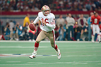 NEW ORLEANS, LA - Quarterback Joe Montana of the San Francisco 49ers in action during Super Bowl XXIV against the Denver Broncos at the Superdome in New Orleans, Louisiana in January of 1990. Photo by Brad Mangin.