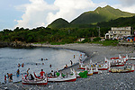 Orchid Island (蘭嶼), Taiwan -- Beach  with traditional boats at Langdao (朗島) Village (aka 'Iraraley' in the local aboriginal language).