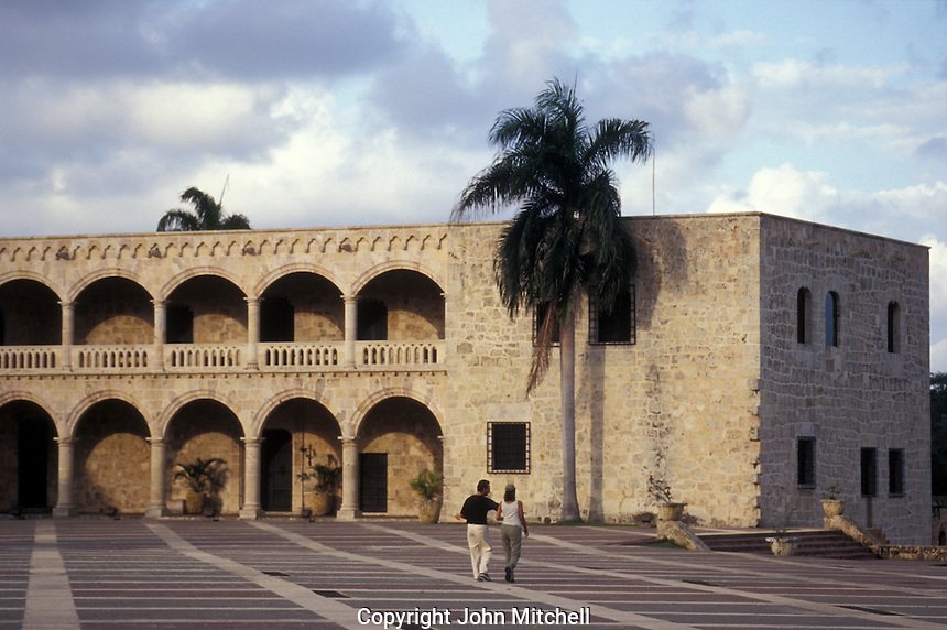 The Alcazar de Colon in old Santo Domingo,  Dominican Republic. This Spanish Colonial palace was built in the early 16th century for Christopher Columbus' son, Diego Columbus. It is now open to the public.