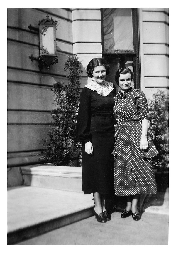Residence Hall on Commonwealth Avenue, Boston. From left: Elene Fernald and Ione Robertson.<br /> The photo was submitted by a Class of 1936 member. alumni Alumni, 1936, historic