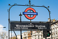 London Underground sign for Westminster Station, London, England