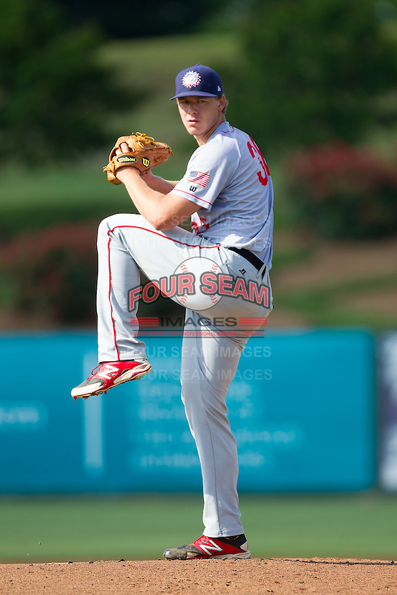 Hagerstown Suns starting pitcher Jake Johansen (36) in action against the Kannapolis Intimidators at CMC-Northeast Stadium on May 31, 2014 in Kannapolis, North Carolina.  The Intimidators defeated the Suns 3-2 in game one of a double-header.  (Brian Westerholt/Four Seam Images)