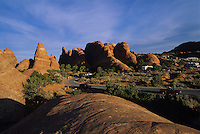 Warm light on rocks of Garden of the Gods campground-Arches National Park, Utah