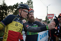 Canadian rider Mark McConnell going for a Sven-selfie at the start of the race<br /> <br /> GP Sven Nys 2015